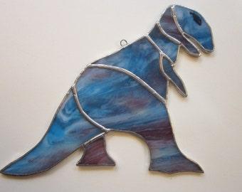 vintage handmade DINOSAUR stained glass - blue dinosaur, stained glass dinosaur