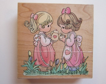 rubber stamp - Precious Moments - Friendship Hits the Spot - Stampendous UW001 - circa 1998 - used stamp