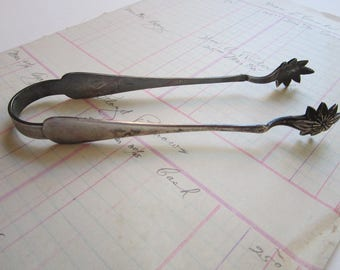 vintage silver plated tongs - Rogers 12 oz - engraved Richelieu - 6.25 inches