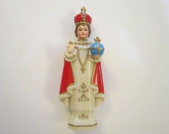 vintage Infant of Prague figurine - made in Hong Kong - 6.25 inches - vintage religious figurine