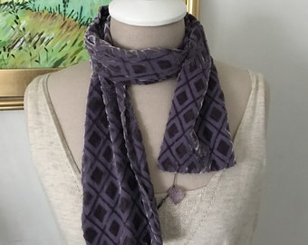 Vintage Gap Velvet Scarf Lavender Burned Out Velvet 100% Silk Holiday Accessories Head Wrap Purple Short Style Bohemian Gifts Under 30 Boho