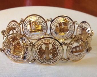 Vintage 1960s Bright Goldtone Bracelet from Greece / Souvenir Ancient Greece / Greek Symbols and Ruins