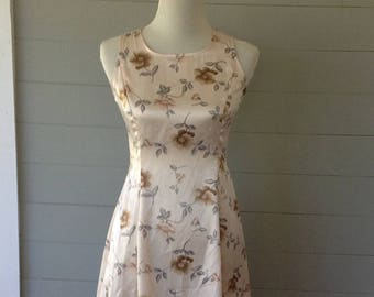 1990s Vintage Satin-Look Lace Up Back Floral Mini Dress By DBY