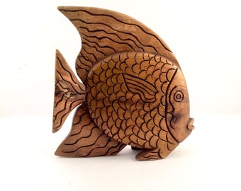 Carved Wooden tropical fish statue