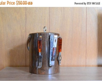 SALE 30% OFF vintage georges briard ice bucket with bar tools / new years eve / vintage bar set