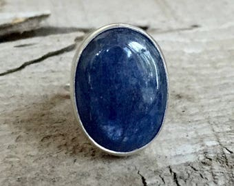 Oval Luminescent Blue Kyanite Sterling Silver Ring | Elegant Ring | Blue Gemstone Ring | Kyanite Ring