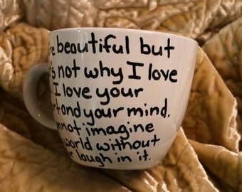 Custom Proposal Beautiful Smile Marriage Mug Gift Laugh I love you I love your laugh true love surprise proposal marriage proposal gift