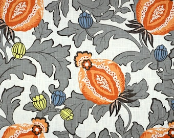 Elisha Mandarin Floral Linen Fabric