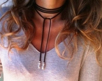 wrap necklace, leather choker necklace, beaded choker necklace, choker necklace with charm, bohemian jewelry, bohemian necklaces, chokers