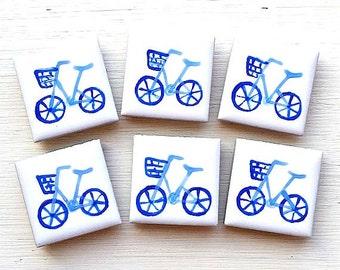 Blue Bike Magnet, Fridge Magnet, Stationary Magnets, Gift for Teacher, Refrigerator Magnet