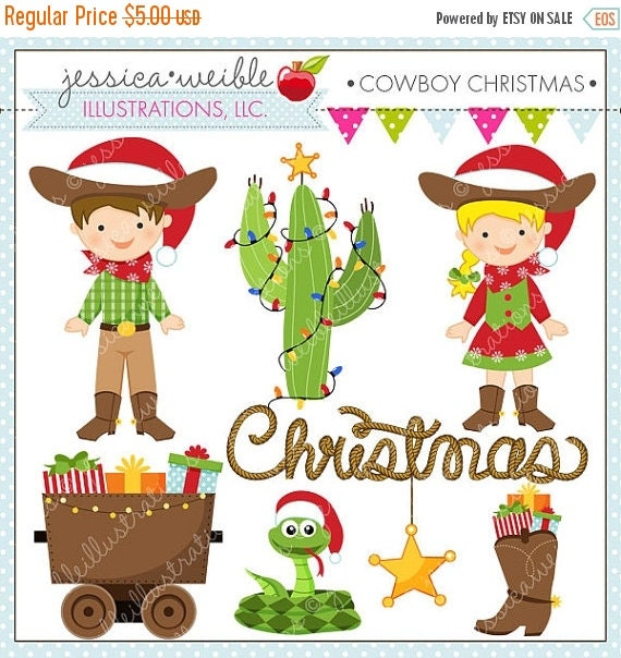ON SALE Cowboy Christmas Cute Digital Christmas Clipart for Commercial or Personal Use, Christmas Clipart, Cowboy Christmas
