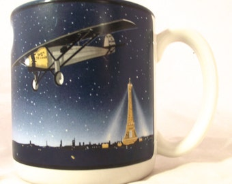 Spirit of St. Louis Mug, Vintage Airplane Souvenir Mug from Smithsonian Air and Space Museum (G2)