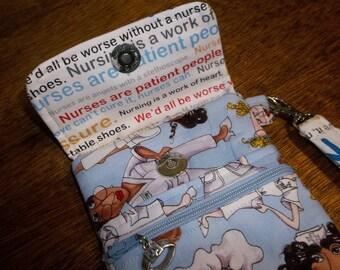 Nursing Design Blue Fabric Cell Phone Case/Wristlet