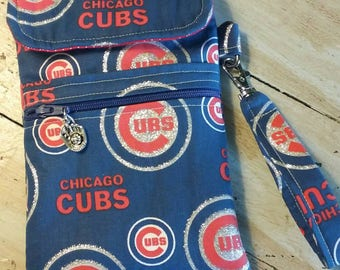 Cubs Baseball Fabric Cell Phone Case/Wristlet