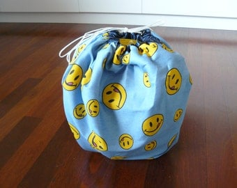Play and Store Mat - happy smiles emoji smiley face yellow and blue - blue trim