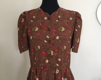 vintage 1940s dress tea dress dita von teese film noir  floral print daydress day dress DITA