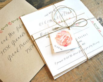 Floral Flower Watercolor Wedding Invitation Suite with Twine Tie and Tag - Kraft, White, Pink, Green, Charcoal (colors/text customizable)