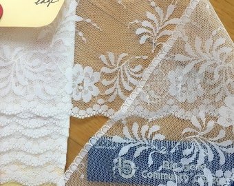 2 yards Vintage polyester white Flat Trim. Delicate Leaves. 3 3/8 inches wide.  Costume/dress/sewing/lace/bridal