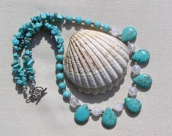 "Turquoise Magnesite & Clear Quartz Gemstone Statement Necklace ""Embo"", Quartz Necklace, Turquoise Necklace, Chakra Necklace, Summer, Beach"