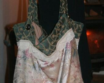 Large Lightweight Tapestry Boho Shoulder Bag w/ Vintage Lace & Vintage Buttons