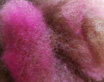 Brown Rose - Biotayarns' alpaca/wool/mohair spinning blend for artisan yarns and felting, 4 ounces
