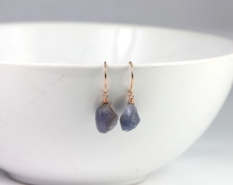Raw Tanzanite Gemstone Rose Gold Wrapped Earrings Bridal Jewelry