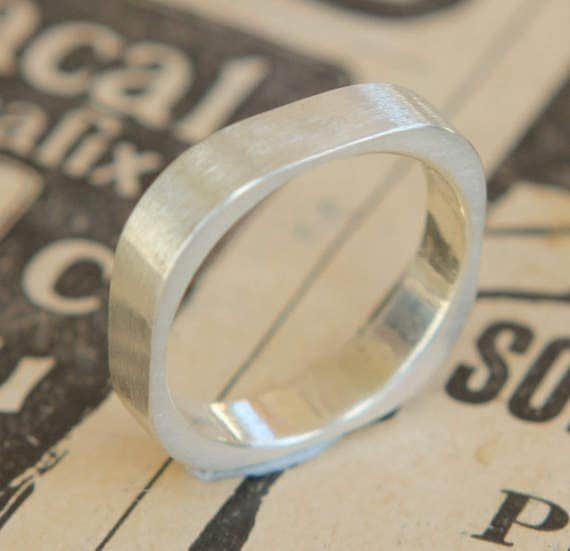 Hand Cast Modern Rounded Square Sterling Silver 4mm Wide Band Free Standard Shipping