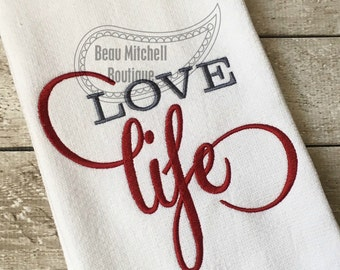 Love life embroidery design