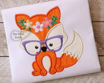 Foxy flower glasses applique embroidery design