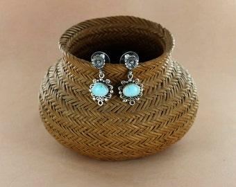 DRY CREEK TURQUOISE Earrings Sterling Scroll Design NewWorldGems