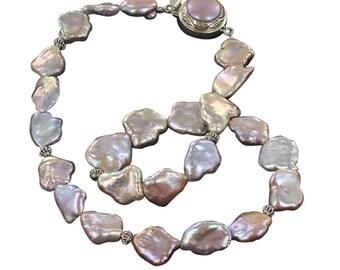 BEAUTIFUL PINK PEACH Pearl Necklace NewWorldGems