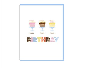 Whimsical Three Cakes Birthday Greeting Card