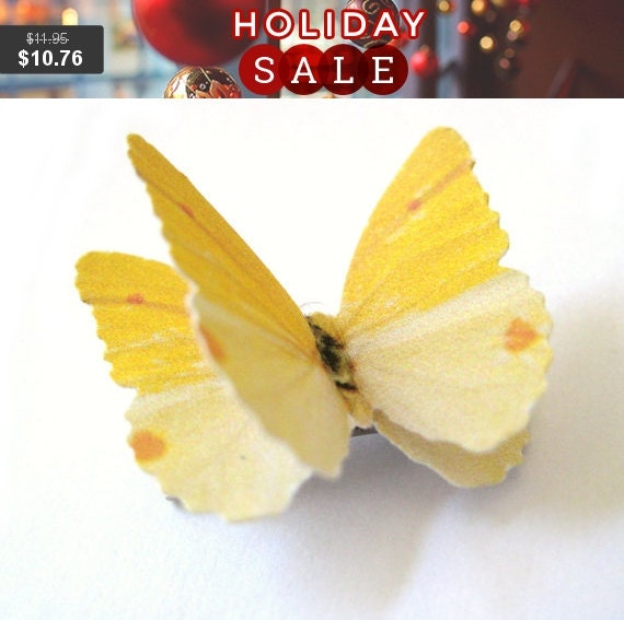 Custom Color Butterfly Hairpiece - Yellow Hairpiece - Yellow Hair Clip - Yellow Hairbow - Yellow Accessories