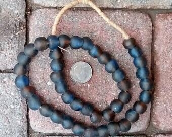Ghana Glass Beads: Blue/Brown 13mm