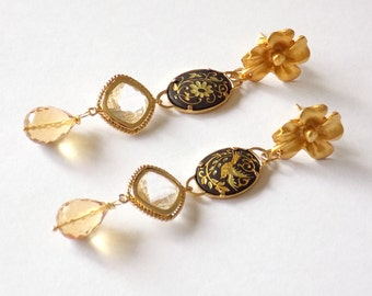 Vintage damascene earrings with yellow quartz