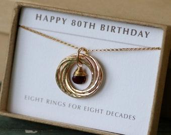 80th birthday gift for mother, January birthstone jewelry, garnet necklace, January birthday gift for grandma - Lilia