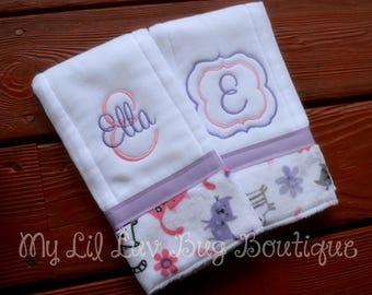Burp cloths personalized - burp cloth set - burp rags - baby diaper burp cloth - set of 2 burp cloths - monogrammed burp cloth - baby girl