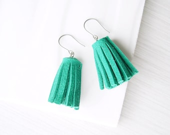 Teal Tassel Dangle Earrings - Leather Suede, Nickel Free Titanium Earwires, Green, Drop, Simple Jewelry, Silver