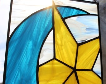 STAINED GLASS SUNCATCHER-Moon Star Stained Glass Window Panel, Under 40, Gift for Baby, Nursery Decor, Gift for Teen, Window Decor, Glass