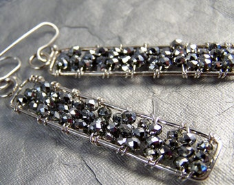 Black Silver beaded Sterling Silver Dangle Earrings