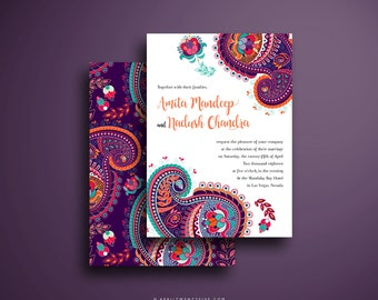 AMITA Indian Wedding Invitation Colorful and Festive Pink Purple Turquoise and Orange Paisley Design