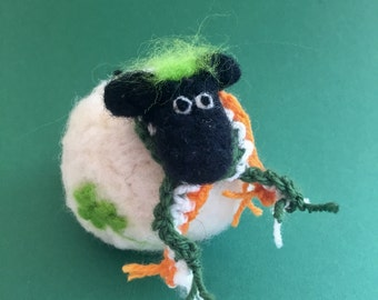 Sheep with shamrock and scarf for Saint Patrick's day