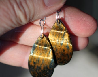 Eye of the Tiger - Freeform Shimmering Blue and Golden Tiger Eye Sterling Silver Earrings