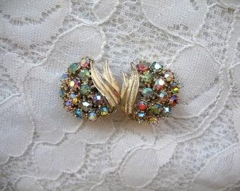 Vintage Rhinestone Earrings ~ Clip On ~ Pastel Ab Rhinestones