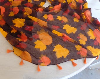 Scarf - Infinity scarf  -  Pumpkins and leaves  great for a fall   72 inches overall length 20 inch wide cotton blend