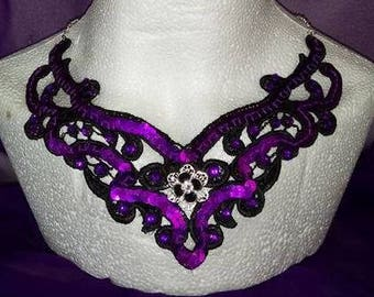 Black and purple filigree collar necklace