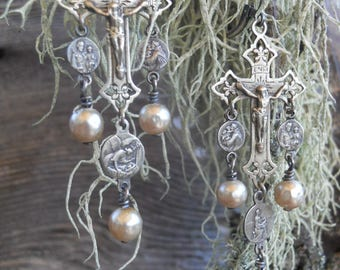 Present            Antique French Religious Cross Medal Pearl Assemblage  Earrings