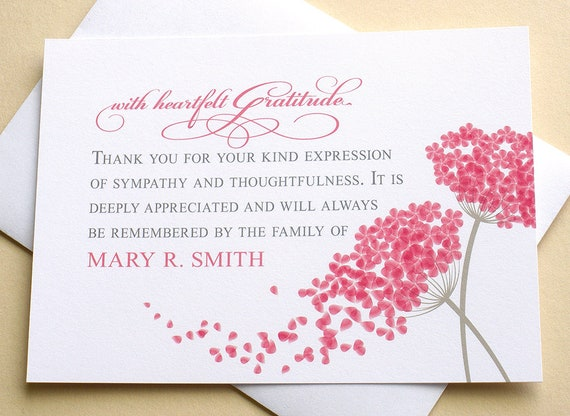 Thank You Sympathy Cards With 2 Big Pink Flowers Custom