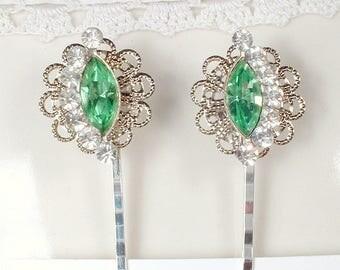 OOAK Mint Green Bridal Hair Pins, Pair Silver Mint Rhinestone Hair Clips from Vintage Earrings, Bridesmaid Wedding Gift Romantic Hairpin