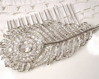 Art Deco Feather Hair Comb Vintage Rhinestone Leaf Headpiece, 1920 Clear Crystal Silver Plume Hair Accessory, Downton Abbey Large HeadPiece